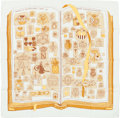 """Luxury Accessories:Accessories, Hermes Cream & Yellow """"Chiffres et Monogrammes,"""" by Lise CoutinSilk Scarf. ..."""