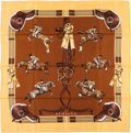 "Luxury Accessories:Accessories, Hermes Brown & Yellow ""Jumping,"" by Philippe Ledoux Silk Scarf...."