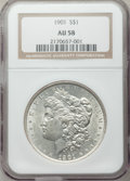 Morgan Dollars: , 1901 $1 AU58 NGC. NGC Census: (1310/668). PCGS Population(863/607). Mintage: 6,962,813. Numismedia Wsl. Price for problem...