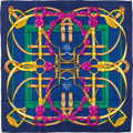 "Luxury Accessories:Accessories, Hermes Navy, Gold & Fuschia ""Grand Manege,"" by Henri d'OrignySilk Scarf. ..."