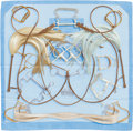 "Luxury Accessories:Accessories, Hermes Light Blue & Brown ""Projets Carres,"" by Henri d'OrignySilk Scarf. ..."