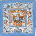 "Luxury Accessories:Accessories, Hermes Blue & Orange ""Au Son du Tam-Tam,"" by LaurenceBourthoumieux Silk Scarf. ..."