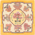 "Luxury Accessories:Accessories, Hermes Tangerine, Green & Pink ""Les Beaux Jours de Bonsai,"" byCatherine Baschet Silk Scarf. ..."