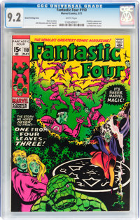 Fantastic Four #110 Green Printing Error (Marvel, 1971) CGC NM- 9.2 White pages