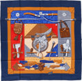 "Luxury Accessories:Accessories, Hermes Navy, Brown & Red ""Tout Cuir,"" by Caty Latham SilkScarf. ..."