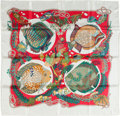 "Luxury Accessories:Accessories, Hermes Red & White ""Grands Fonds"" by Annie Faivre Silk Scarf...."