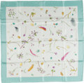 """Luxury Accessories:Accessories, Hermes Blue & Cream """"Fleurs et Plumes"""" by Leigh P. Cooke Silk Scarf. ..."""
