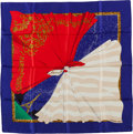 "Luxury Accessories:Accessories, Hermes Blue, Red, & Cream ""Souvenirs de Paris"" by Hilton McConnico Silk Scarf. ..."