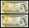 Canadian Currency: , BC-46aA $1 1973 Replacement Two Examples. ... (Total: 2 notes)