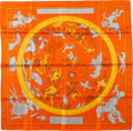 "Luxury Accessories:Accessories, Hermes Orange & Yellow ""Hemispharium Coeli Boreale"" by HugoGrygkar & Loïc Dubigeon Silk Scarf. ..."