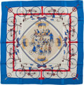 "Luxury Accessories:Accessories, Hermes Blue & Red ""Les Becanes,"" by Hugo Grygkar Silk Scarf...."