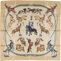 "Luxury Accessories:Accessories, Hermes Yellow, Brown & Blue ""En Piste,"" by Robert Dallet SilkScarf. ..."