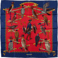 "Luxury Accessories:Accessories, Hermes Red & Blue ""Les Oiseaux du Roy,"" by Caty Latham SilkScarf. ..."