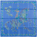"Luxury Accessories:Accessories, Hermes Blue & Green ""Cheval Fleuri,"" by Henri d'Origny Silk Scarf. ..."