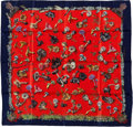 "Luxury Accessories:Accessories, Hermes Red & Navy ""Champignons,"" by A. Gavarni & Francoisede la Perriere Silk Scarf. ..."