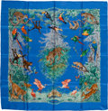 """Luxury Accessories:Accessories, Hermes Blue & Green Multicolor """"Equateur,"""" by Robert Dallet Silk Scarf. ..."""