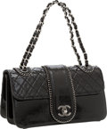 Luxury Accessories:Bags, Chanel Black Quilted Patent Leather Madison Flap Bag with GunmetalHardware. ...