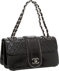 Chanel Black Quilted Patent Leather Madison Flap Bag with Gunmetal Hardware