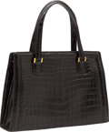 Luxury Accessories:Bags, Hermes Shiny Black Crocodile Pullman Bag with Gold Hardware. ...