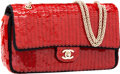 Luxury Accessories:Bags, Chanel Limited Edition Shanghai Collection Red Paillette &Black Satin Medium Double Flap Bag, Retail $6,000. ...