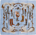 "Luxury Accessories:Accessories, Hermes Light Blue & Brown ""A Propos de Bottes,"" by Xavier de Poret Silk Scarf. ..."