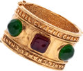 Luxury Accessories:Accessories, Chanel Hammered Gold Cuff Bracelet with Green & Purple Gripoix....