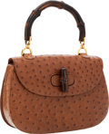 Luxury Accessories:Bags, Gucci Brown Ostrich Bag with Bamboo Top Handle. ...