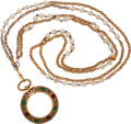 Luxury Accessories:Accessories, Chanel Gold Chain & Pearl Magnifying Glass with Red & Green Gripoix. ...