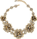 Luxury Accessories:Accessories, Chanel Brushed Gold & Crystal Camelia Flower Necklace. ...