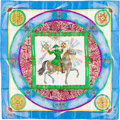 """Luxury Accessories:Accessories, Hermes Blue & Green Multicolor """"Feux d'Artifices,"""" by MicheleDuchene Silk Scarf. ..."""