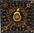 "Luxury Accessories:Accessories, Hermes Black , Red & Gold ""Les Cles,"" by Caty Latham SilkScarf. ..."