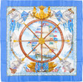 """Luxury Accessories:Accessories, Hermes Sky Blue, White & Brown """"Vive le Vent,"""" by LaurenceThioune Silk Scarf. ..."""