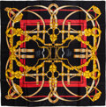"Luxury Accessories:Accessories, Hermes Black and Gold ""Grand Manege,"" by Henri d'Origny Silk Scarf...."