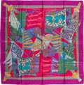 "Luxury Accessories:Accessories, Hermes Pink, Purple & Teal ""Etendards et Bannieres,"" by Annie Faivre Silk Scarf. ..."