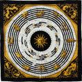 "Luxury Accessories:Accessories, Hermes Black, White & Gold ""Astrologie,"" by Françoise FaçonnetSilk Scarf. ..."