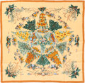 """Luxury Accessories:Accessories, Hermes Yellow, Green & Copper """"Pythagore,"""" by Zoe Pauwels SilkScarf. ..."""
