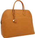 Luxury Accessories:Bags, Hermes 45cm Natural Ardennes Leather Travel Sellier Bolide Bag with Gold Hardware . ...