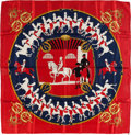 """Luxury Accessories:Accessories, Hermes Red, Navy & Gold """"Manege,"""" by Philippe Ledoux Silk Scarf. ..."""