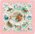 "Luxury Accessories:Accessories, Hermes Light Pink, Gren & Brown ""Auteuil en Mai,"" by Carl de Parcevaux Silk Scarf. ..."