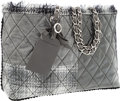 Luxury Accessories:Bags, Chanel Gray Patent Leather Tweed Patchwork Tote Bag with ChainStraps. ...