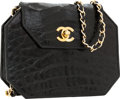 Luxury Accessories:Bags, Chanel Shiny Black Crocodile Hexagonal Clutch Bag with Chain Strap....