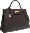 Luxury Accessories:Bags, Hermes 35cm Marron Fonce Calf Box Leather Sellier Kelly Bag withGold Hardware. ...