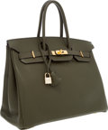Luxury Accessories:Bags, Hermes 35cm Vert Olive Togo Leather Birkin Bag with Gold Hardware....