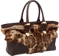 Luxury Accessories:Bags, Gucci Ocelot Print Natural Fur & Brown Leather Tote Bag. ...