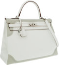 Luxury Accessories:Bags, Hermes Limited Edition 35cm White & Gris Perle Swift LeatherRetourne Ghillies Kelly Bag with Palladium Hardware. ...