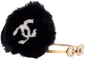 Luxury Accessories:Accessories, Chanel Gold, Pearl & Black Mink Fur Coco Ear Muffs. ...