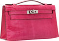 Luxury Accessories:Bags, Hermes Fuchsia Lizard Kelly Pochette Clutch Bag with RutheniumHardware. ...