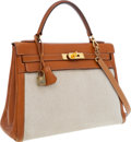 Luxury Accessories:Bags, Hermes 32cm Gold Epsom Leather & Toile Retourne Kelly Bag with Gold Hardware. ...