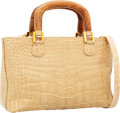 Luxury Accessories:Bags, Lana Marks Beige Crocodile Tote Bag with Wooden Handle Details. ...
