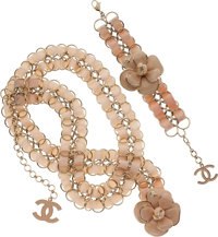 Chanel Set of Two; Peach Grosgrain Camelia Belt and Bracelet Set